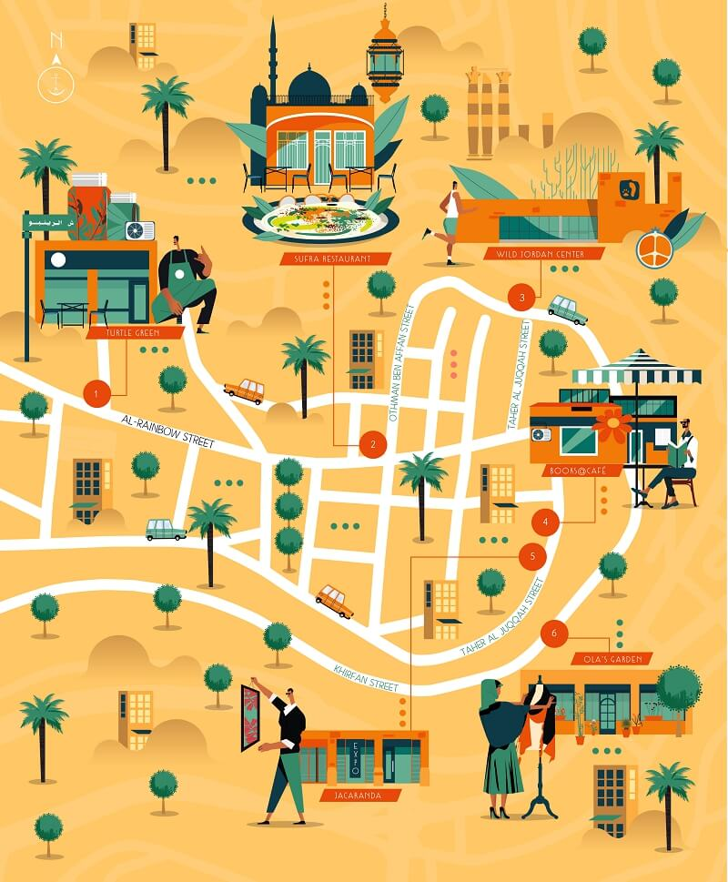 Illustrated map of the city of Amman in Jordan
