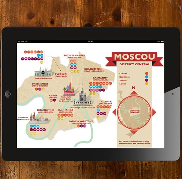 Illustrated map of Moscow, Russia